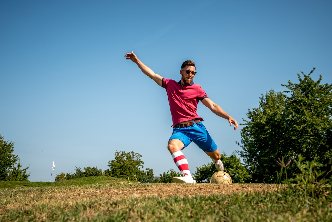 Footgolf Player Striking the Ball